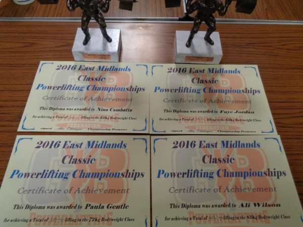 East Midlands Powerlifting 31st Jan 2016 certs